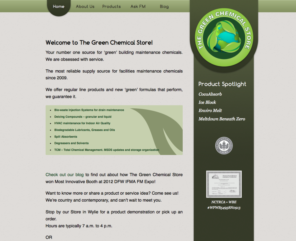 The Green Chemical Store Web Site