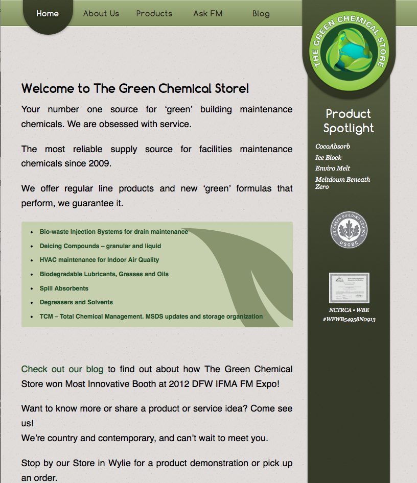 The Green Chemical Store Tablet Design